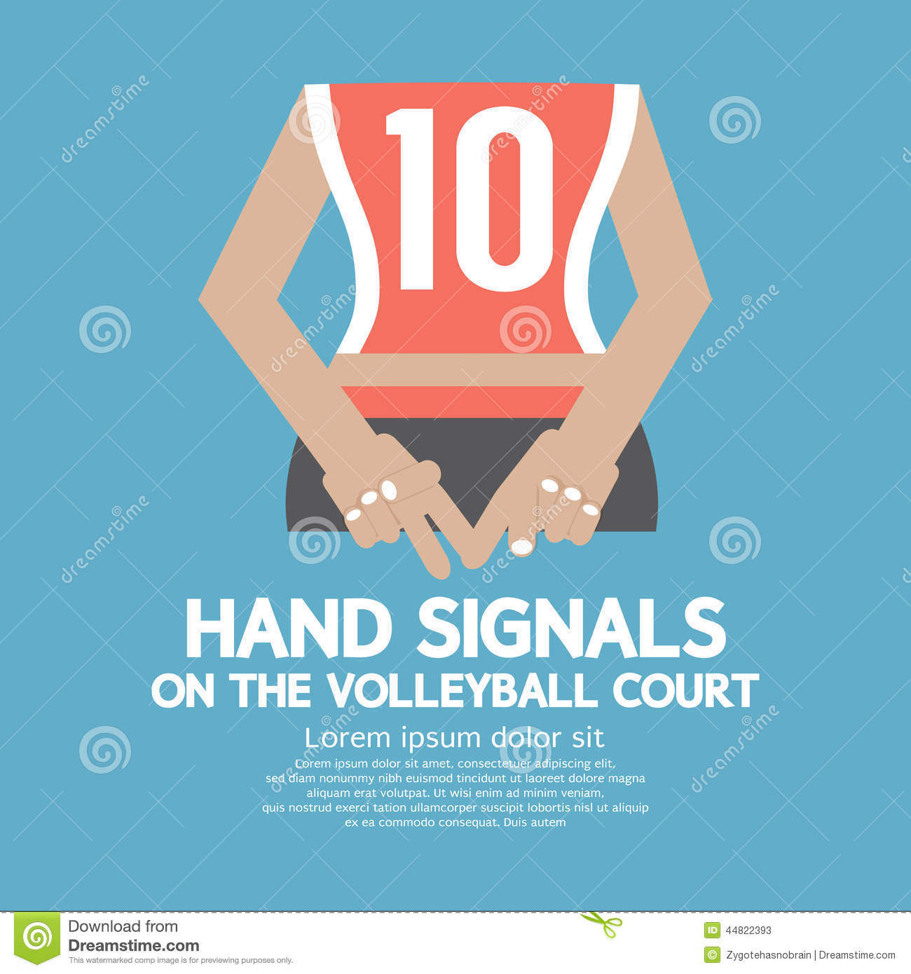 Hand Signals Of The Volleyball Player S Backside Stock Vector   Image