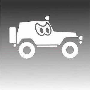 Jeep Angry Eyes Decal Off Road Adventure Mud Car Window Sticker