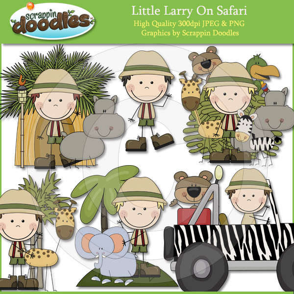 Little Larry On Safari Clip Art Download    2 00   Scrappin Doodles