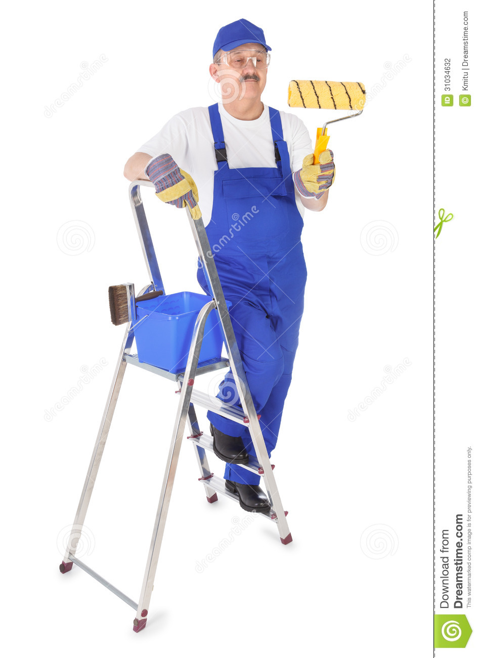 Painter On Ladder Clipart House Painter With Ladder On