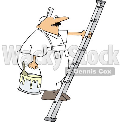 Painter On Ladder Clipart House Painting Clipart