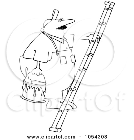 Painter On Ladder Clipart Royalty Free Vector Clip Art