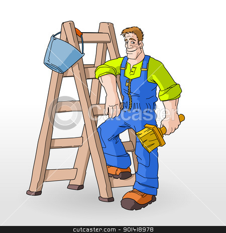 Painter Painting With Ladder Stock Vector Clipart Ladder Ready To Be