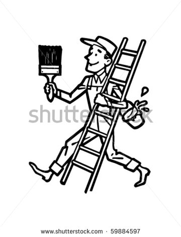 Painter With Ladder   Retro Clip Art Stock Vector Illustration
