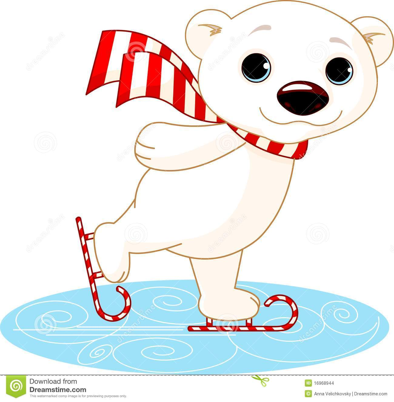 Polar Bear On Ice Skates Stock Images   Image  16968944