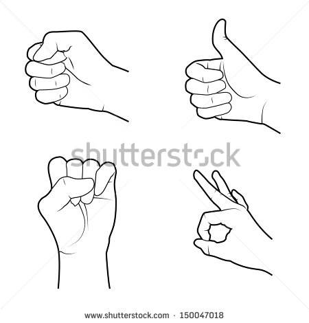 Stock Vector Hands Signals Over White Background Vector Illustration