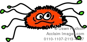 Clipart Image Of A Whimsical Drawing Of A Hairy Spider