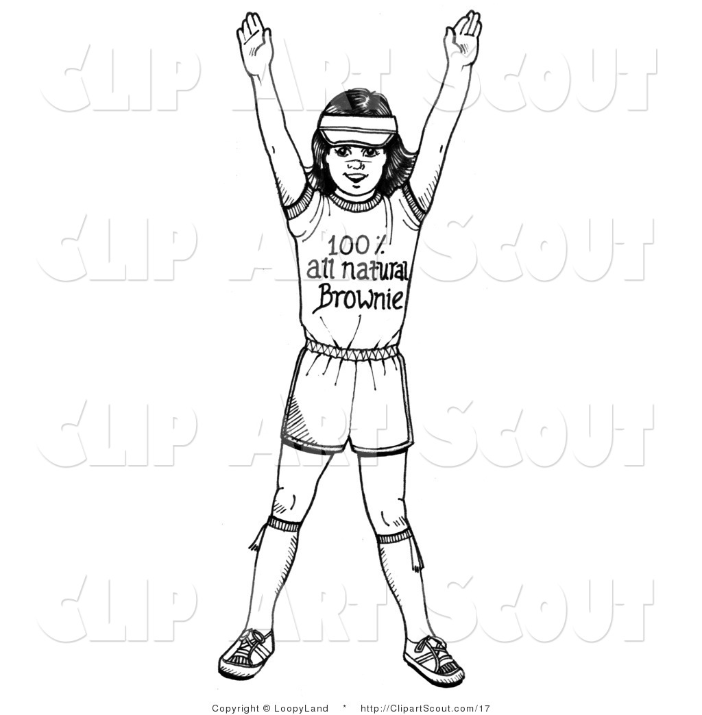 Clipart Of A Black And White Girl Scout Brownie Holding Her Arms Up By