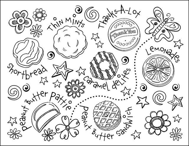 Girl Scout Brownie Clip Art Coloring Sheets   Girl Scout Cookie