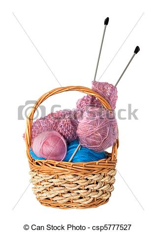 Photo   Yarn For Knitting With Knitting Needles In A Wicker Basket