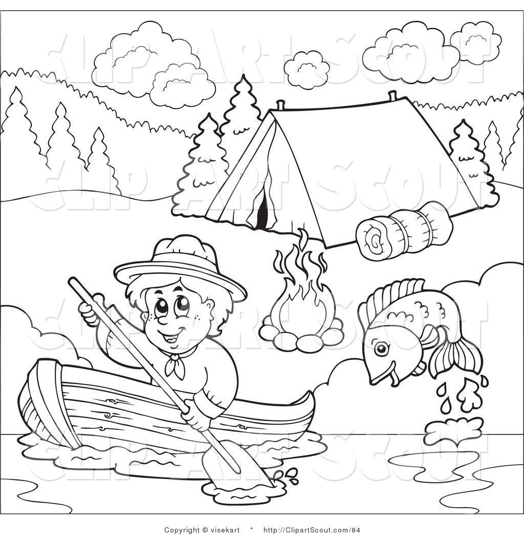 Scout Boy Boating Past A Campground Scout Clip Art Visekart