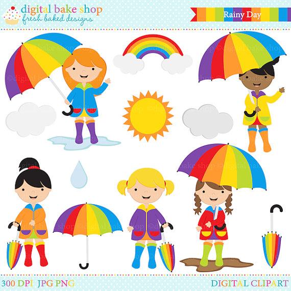 Rainy Day Clip Art: Cute Spring Rain Clipart