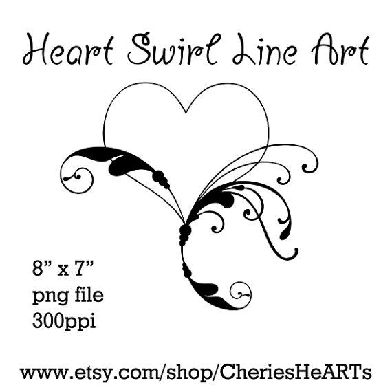 Line Drawing Valentine : Heart swirl line clipart suggest