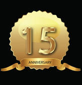 15th Anniversary In Gold Seal   Clipart Graphic