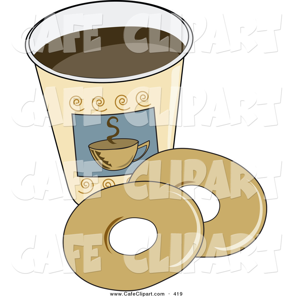 Art Of A Couple Of Plain Donuts By A Cup Of Coffee By Pams Clipart