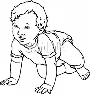 Black And White Cartoon Of A Baby Crawling On The Floor   Royalty