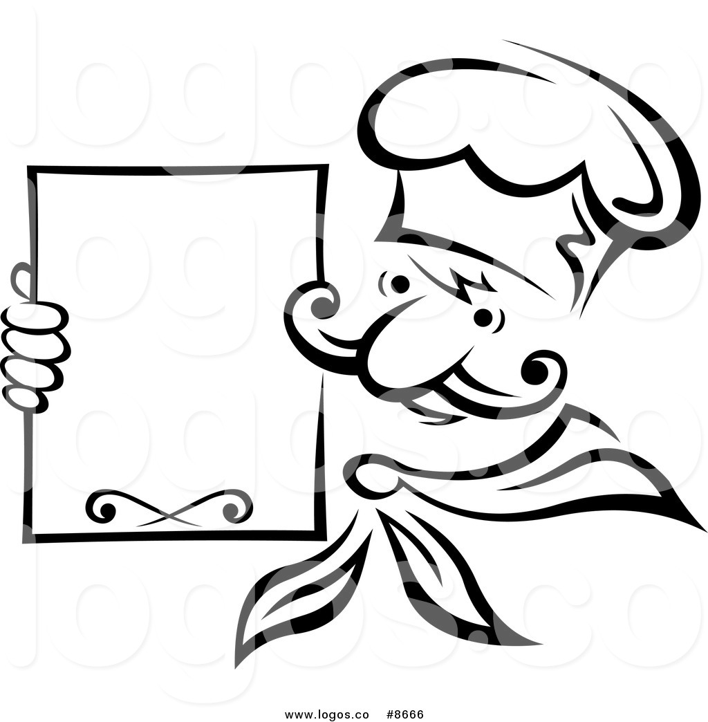 Black And White Chef Holding A Menu Board Logo Black And White Chef