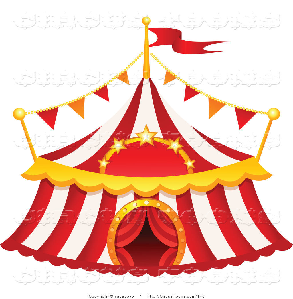 Circus Clipart Of A Red And White Striped Big Top Circus Tent On White