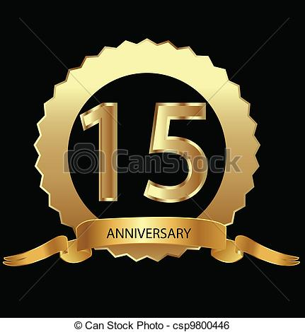 Clip Art Vector Of 15th Anniversary In Gold Seal Vector Csp9800446