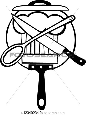 Clipart Of  Chef Cook Cooking Kitchen Knife Pan Sign Spoon