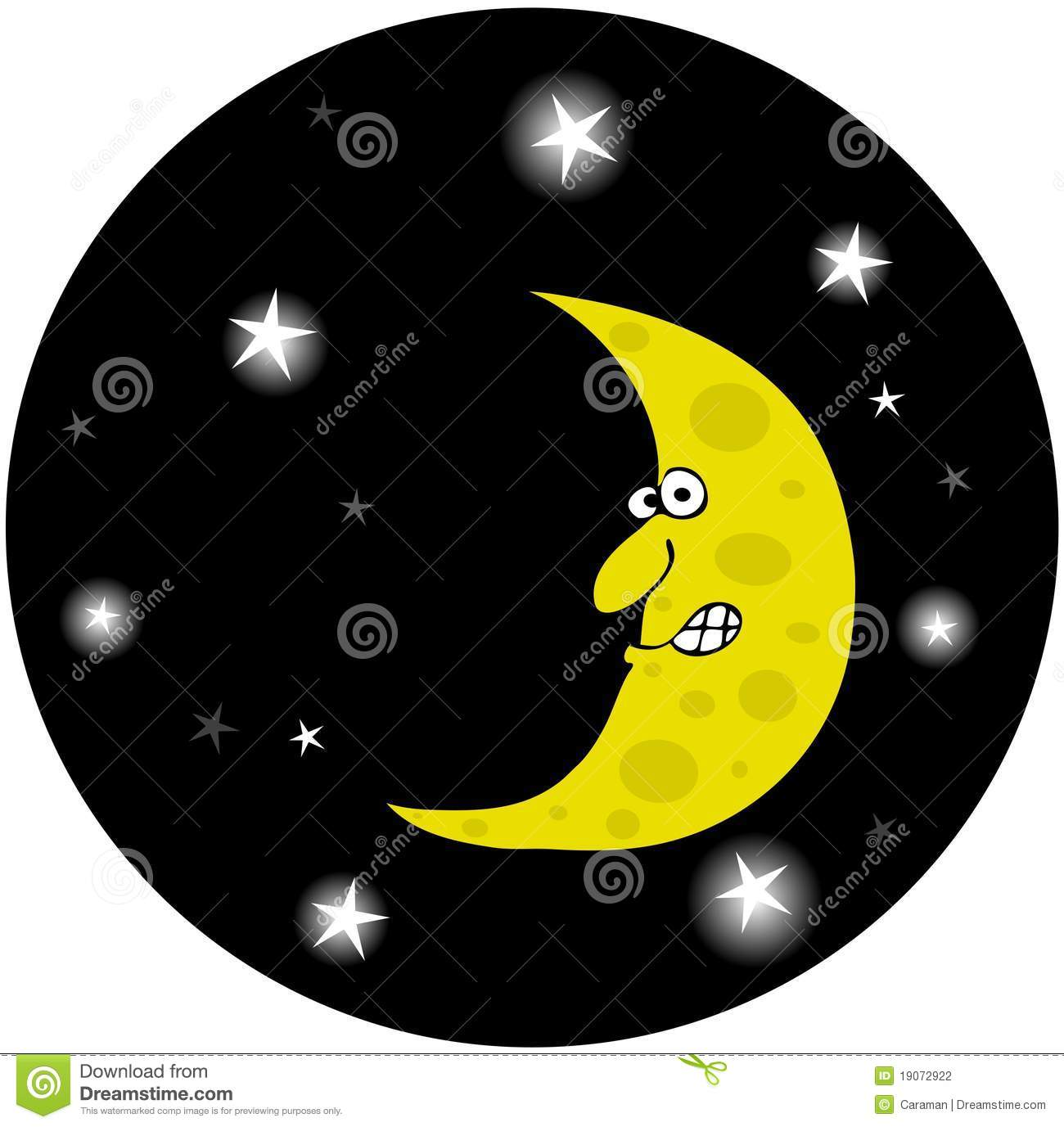 Depicts A Half Moon With A Face In A Star Filled Night Sky