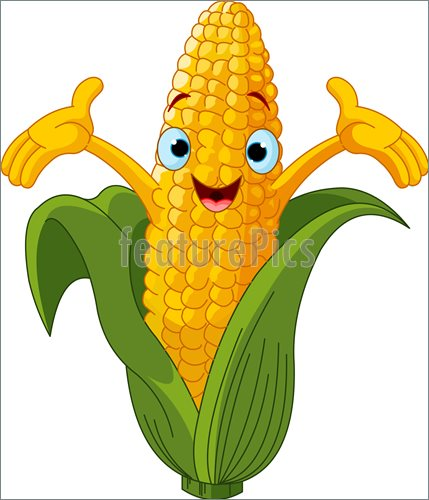 Illustration Of Corn Character Presenting Something