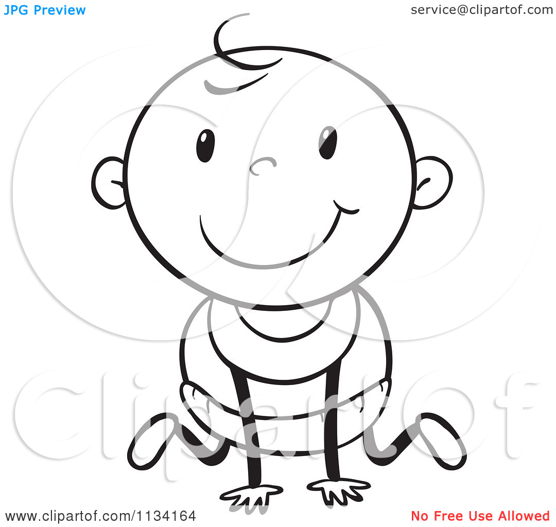 Of A Black And White Baby Crawling 1   Royalty Free Vector Clipart
