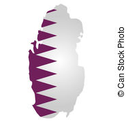 Qatar Flag   Flag Of Qatar Overlaid On Outline Map Isolated