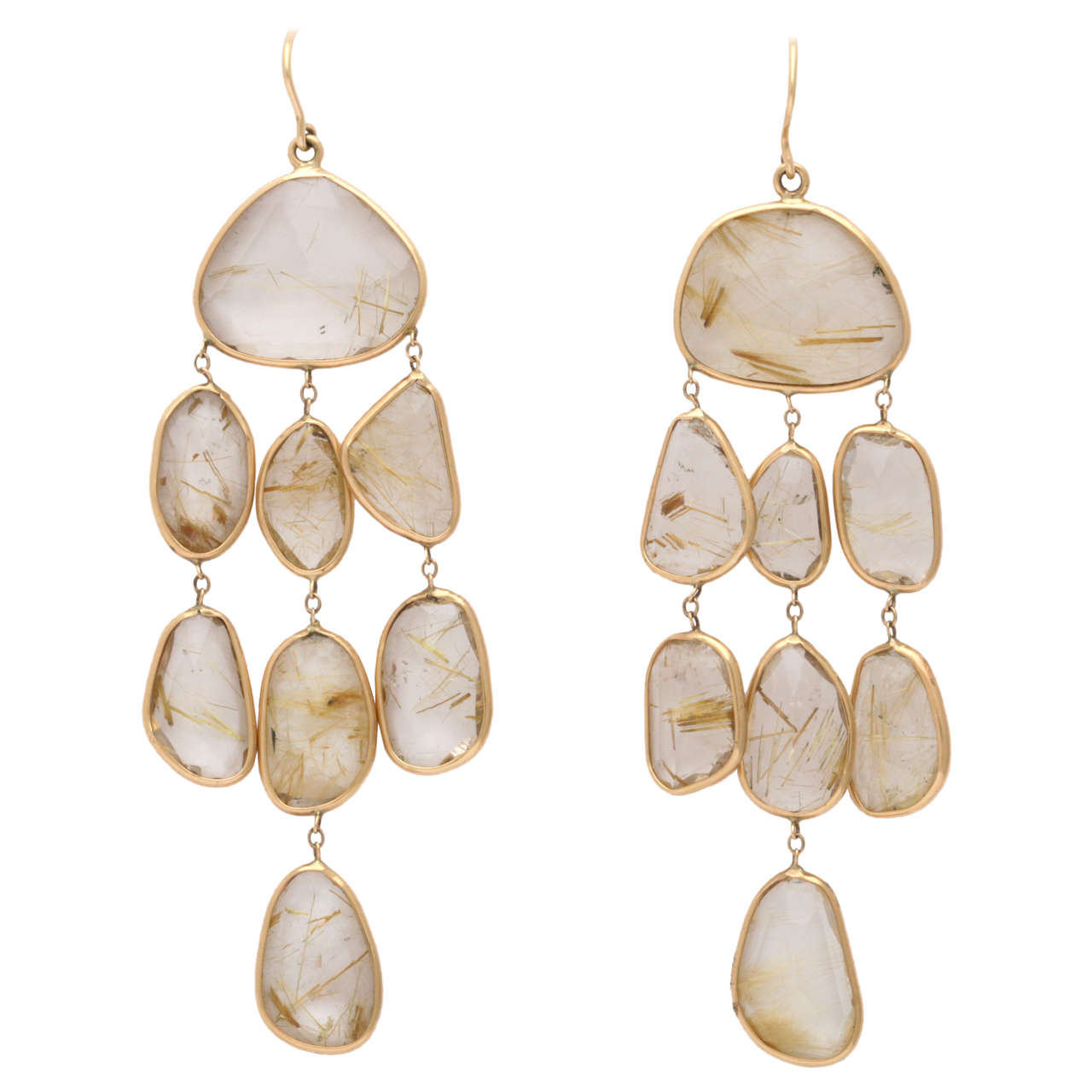 Rutilated Topaz Quartz And Gold Chandelier Earrings For Sale At