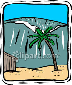 Tsunami Coming Towards Land   Royalty Free Clipart Picture