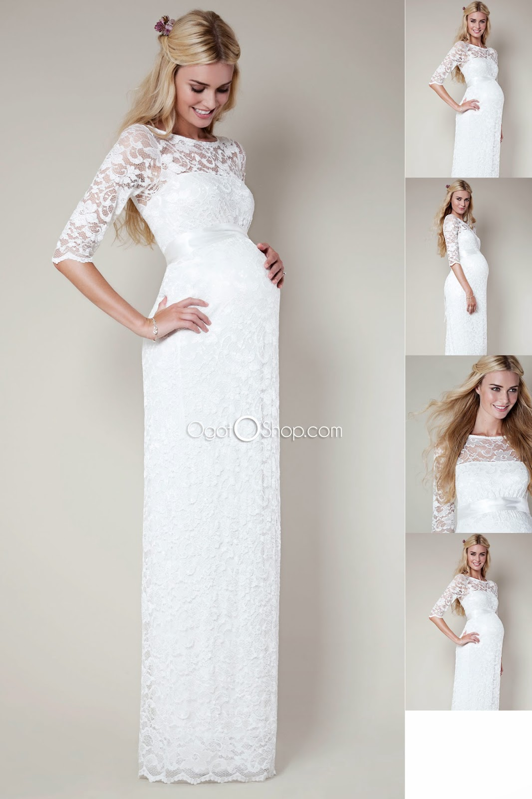 Wedding Dress With Half Sleeves Elegant White With Lace Floor Length