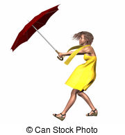 Woman Umbrella Wind Wearing Yellow Dress And Scarf Clipart