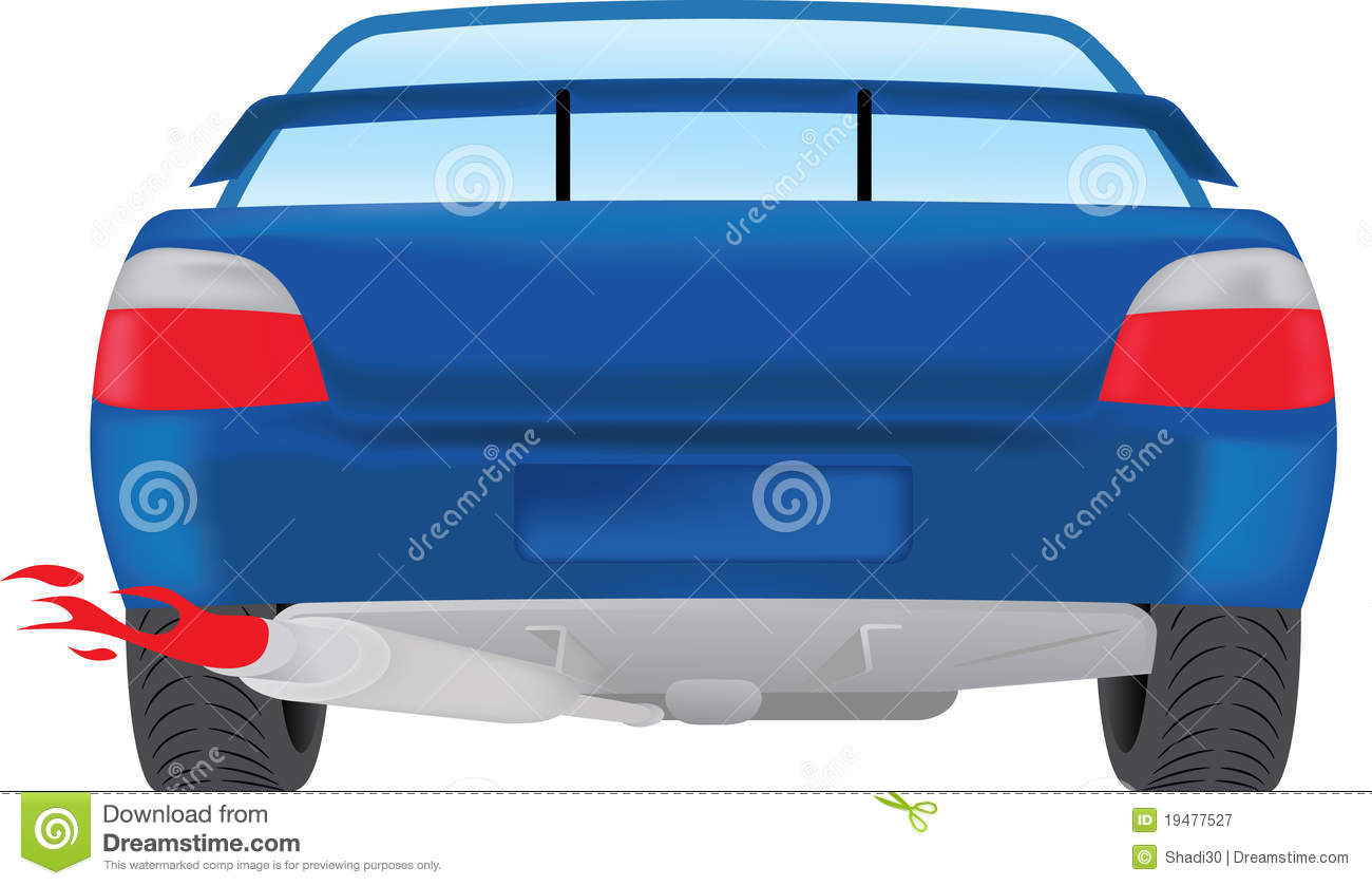 Back Of Car Clipart Car Rear View With Red Flame