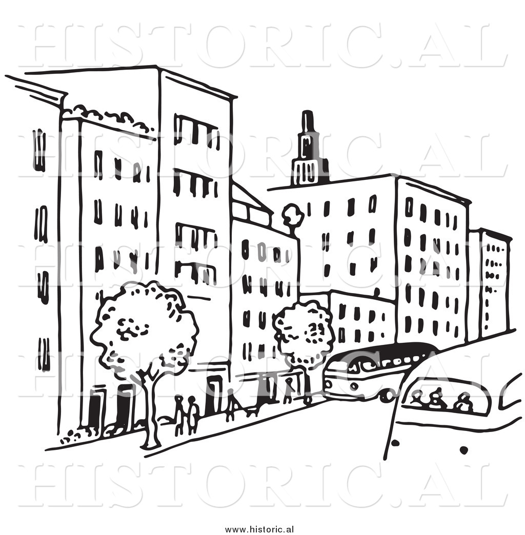 Clipart Of A City Street With Buildings Trees People And Buses
