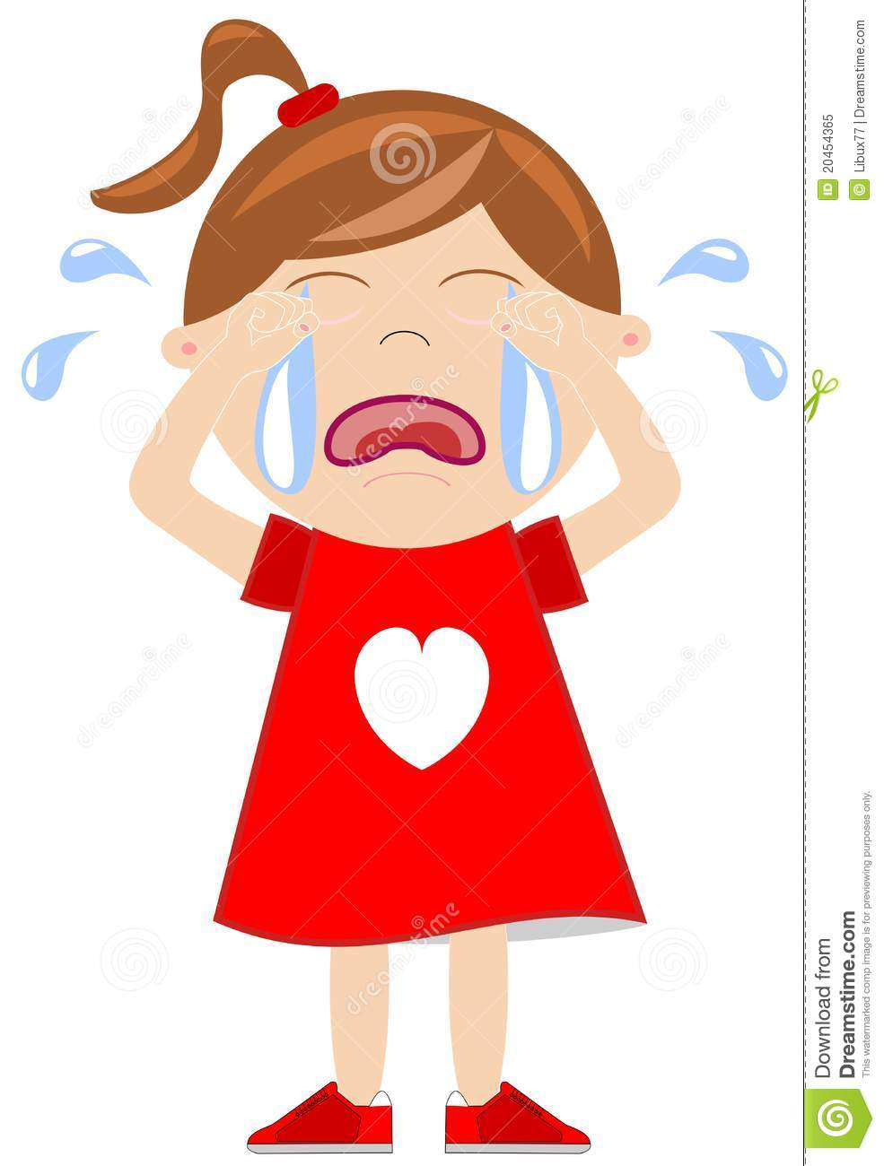Cartoon little girl crying