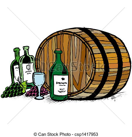Drawings Of Wine Barrel Csp1417953   Search Clipart Illustration And
