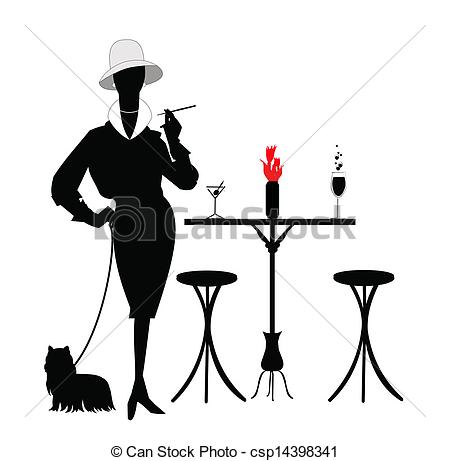 Eps Vector Of Fashionista   Silhouette Of Lady With Her Puppy On Leash