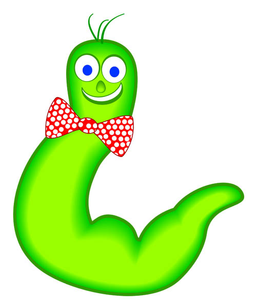 Illustration Of Mr  Wiggly Worm A Fat Green Worm With A Big Bow Tie