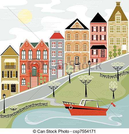 Of Quaint Village Street With Water Scene Csp7554171   Search Clipart