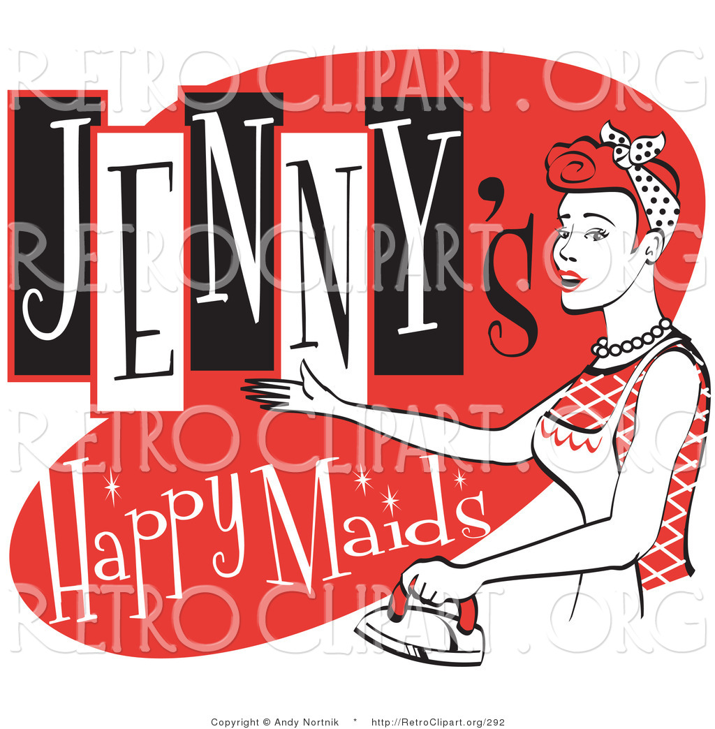Retro Clipart Of A Happy Red Headed Woman In An Apron Ironing Clothes