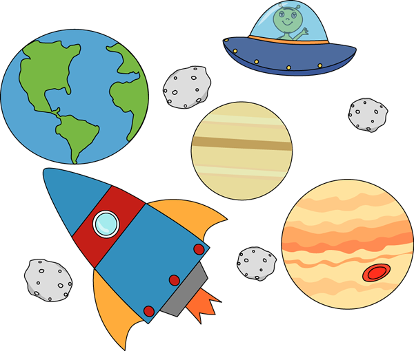 Rocket And Ufo Flying Through Outerspace Clip Art Image   Rocket And