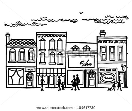 Small Town Main Street   Retro Clipart Illustration   104617730