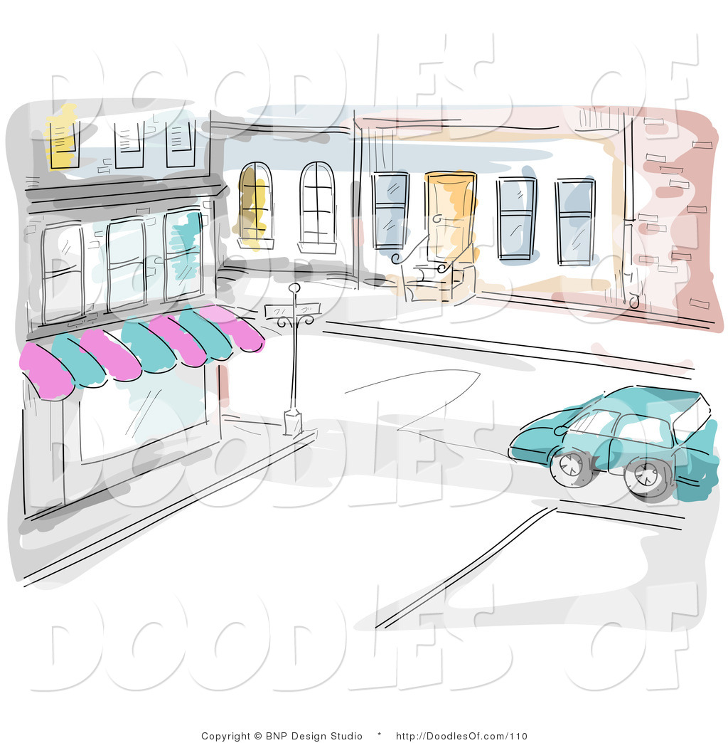 Vector Clipart Of A Watercolor And Sketched City Street And Store