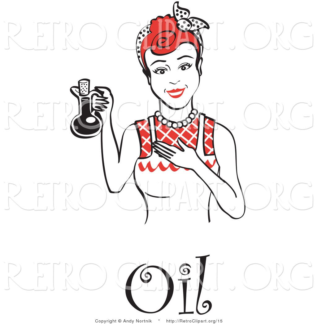 Vector Retro Clipart Of A Happy Woman Wearing An Apron Holding Up A