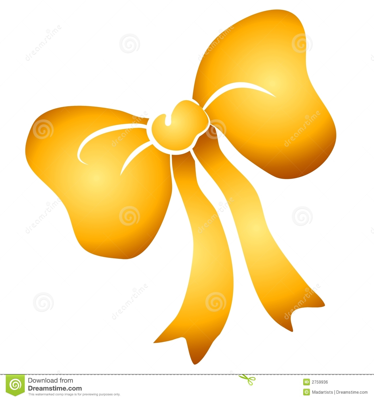 Yellow Tied Ribbon Bow Clipart Royalty Free Stock Image   Image