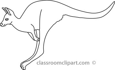 Animals   Jumping Kangaroo 5a Outline   Classroom Clipart