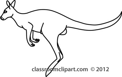 Animals   Kangaroo Jumping 212 03 Outline   Classroom Clipart