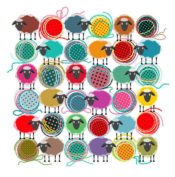 Bright Sheep And Yarn Pattern Art Print        2015