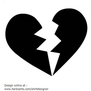 Broken Heart Black And White Clipart - Clipart Suggest