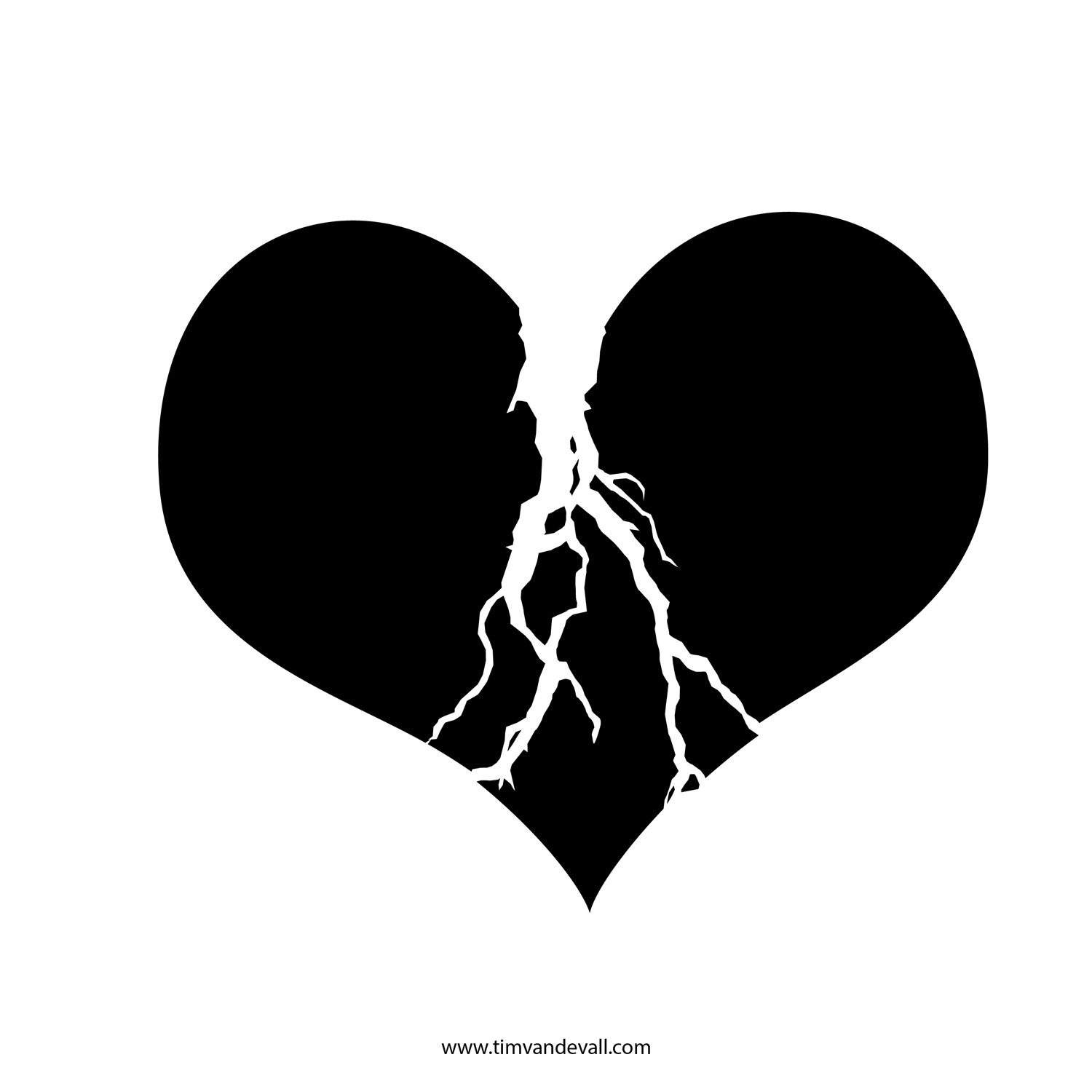 Broken Heart Black And White Clipart - Clipart Kid